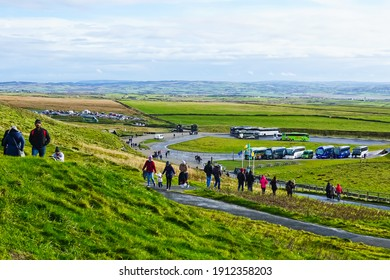 Cliffs of Moher, Ireland-November 8, 2018: top view of Parking grounds and trails at Cliffs of Moher