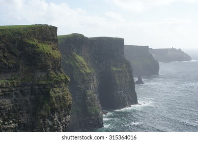 The Cliffs of Moher overlooking the Atlantic Ocean in County Clare, Ireland.