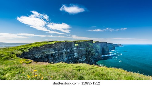 The Cliffs of Moher are sea cliffs located at the southwestern edge of the Burren region in County Clare, Ireland. Lenght is about 14 kilometres.