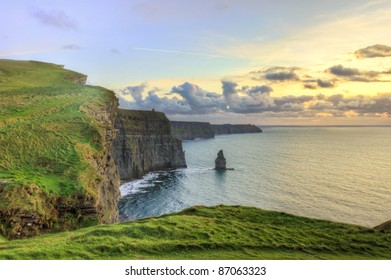Cliffs of Moher at sunset in Ireland.