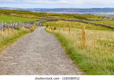Cliffs of Moher trail with Lahinch and Liscannor in background, Clare, Ireland