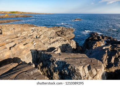 Cliffs at Molen, first UNESCO Global Geopark in the Nordic Countries near Larvik, Vestfold County, Norway