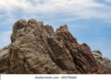 Cliffs mountain ridge. Rocky coast of Costa Brava in Catalonia