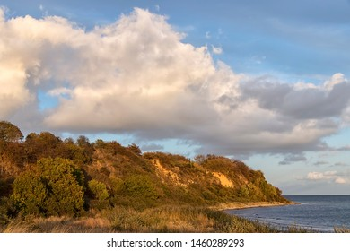 Cliffs near the village Lobbe, Rugen Island. Late sunlight. Was seen at the Baltic Sea, Mecklenburg, Germany.