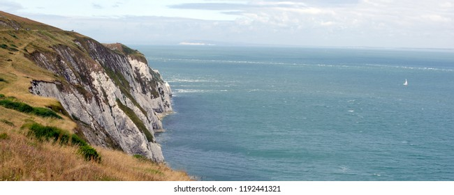 The cliffs at the needles old battery, overlooking Alum Bay, Isle of Wight