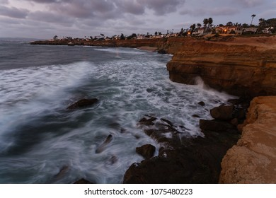 Cliffs and ocean along California coast at sunset