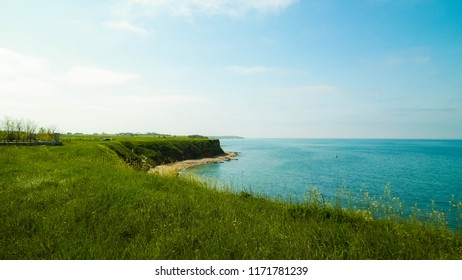 Cliffs on the Black Sea coas. Landscape of cliffs and beach in Vama Veche, Romania. Nature and traveling concept.