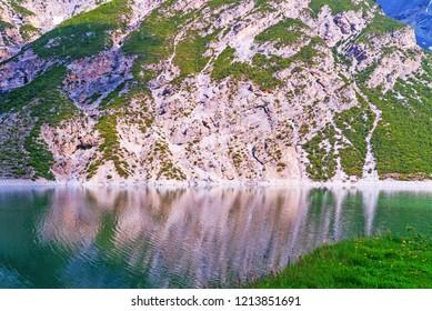 Cliffs over lake Livigno