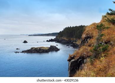 Cliffs over Ocean on Kodiak Island, Alaska