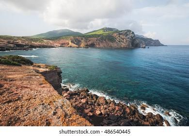 Cliffs of Peninsula Capo Caccia near Alghero, Sardinia, Italy