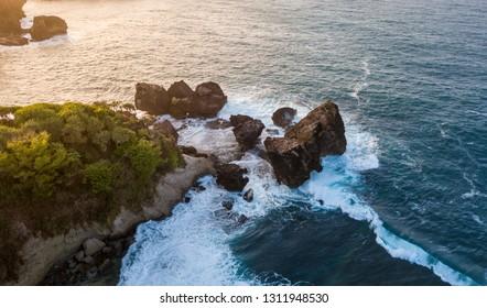 Cliffs and sea at Jungwok Beach, Gunungkidul Yogyakarta