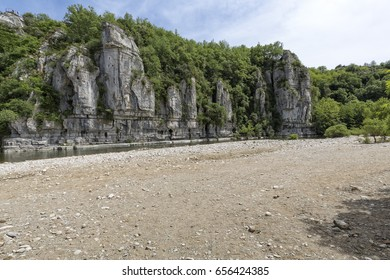 Cliffs and small river outside of the village Labeaume in Southern France