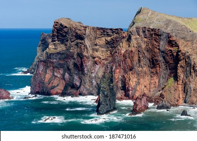 Cliffs at St Lawrence Madeira showing unusual vertical rock formation