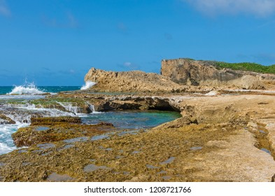 cliffs and tidal pools along north coast of puerto rico