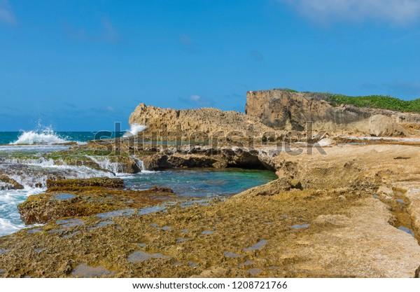 cliffs and tidal pools along north coast of puerto rico