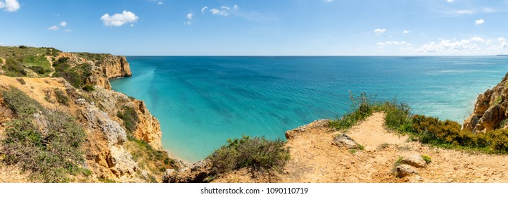 Cliffs view by Atlantic Ocean, Lagos, Algarve, Portugal.