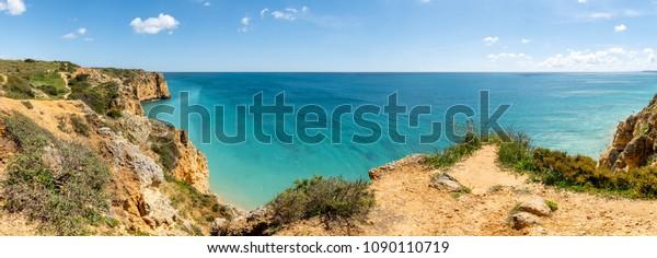 Cliffs view by Atlantic Ocean, Lagos, Algarve, Portugal.