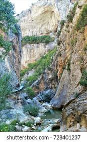 Cliffs and walkways of the River Vero, Alquézar, Huesca, Aragon, Spain