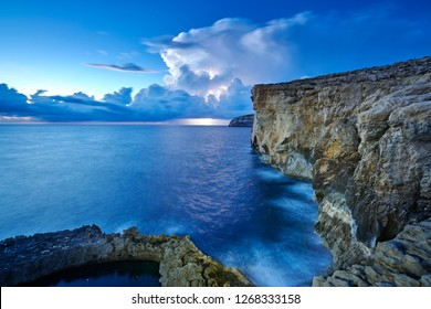 Cliffs where collapsed well known Azure Window, coast of Island Gozo, Malta, Europe