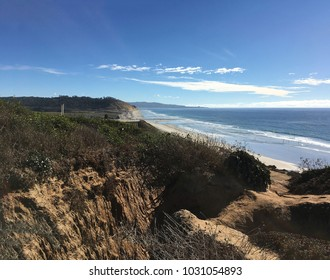 cliffside, oceanside view of Pacific at Torrey Pines Preserve, La Jolla, CA
