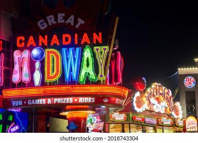Clifton Hill, Niagara Falls, Ontario, Canada, Monday, July 26, 2021. Clifton Hill is shown at night.