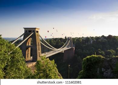Clifton suspension bridge and Balloon Fiesta, Bristol, UK