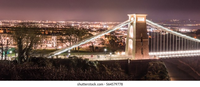 Clifton Suspension Bridge with Bristol cityscape by night horizontal photography