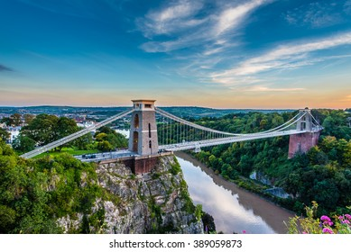 Clifton Suspension Bridge, Bristol, UK with sunset