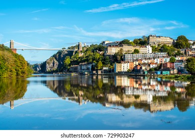 Clifton Suspension Bridge with Clifton and reflection, Bristol UK