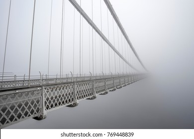 Clifton Suspension Bridge in the thick fog.