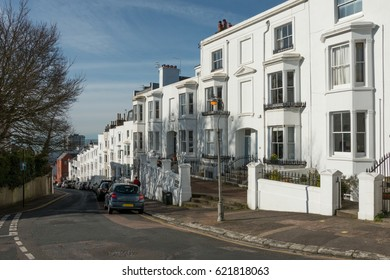 Clifton Terrace, a Georgian street in the Montpelier of Hove, East Sussex, UK, on a summer's morning