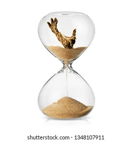 Climate change awareness concept with a human hand turning in to sand in a hourglass