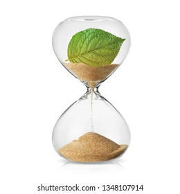 Climate change awareness concept with a leaf turning in to sand in a hourglass