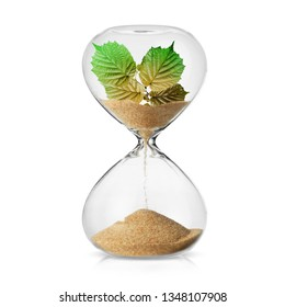 Climate change awareness concept with a leves turning in to sand in a hourglass