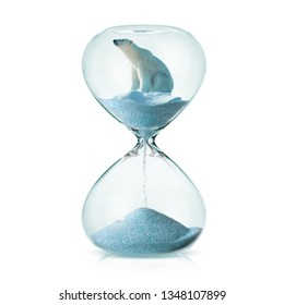 Climate change awareness concept with polar bear on a melting ice in a hourglass