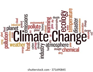 Climate change, word cloud concept on white background.
