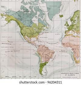 Climate and streams in Pacific ocean, Atlantic ocean and America. By Paul Vidal de Lablache, Atlas Classique, Librerie Colin, Paris, 1894
