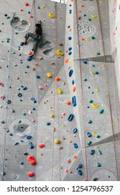 Climber in climbing gym