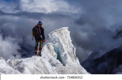 Climber in Himalayas mountains, Nepal, Everest region