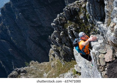 Climber in the mountains above Jonkershoek near Cape Town