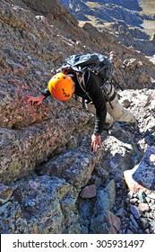 Climber in the mountains, Crestone Needle, Sangre de Cristo Range, Colorado