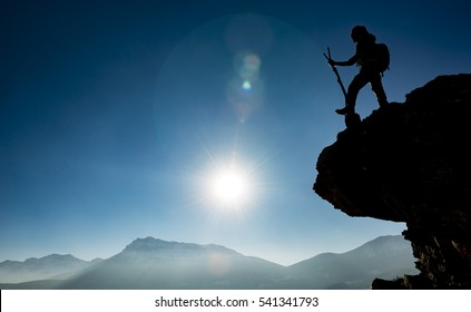 climber on the cliff alone, and success