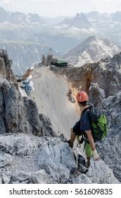 Climber on Cristallo, dolomites