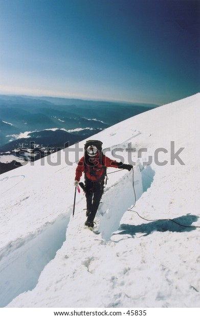 Climber on Mount Rainier