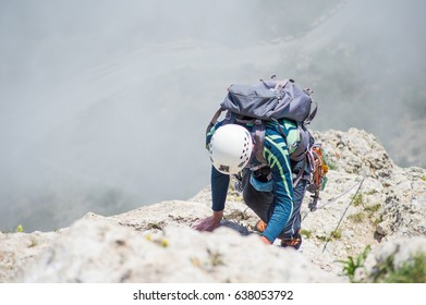 Climber on the route, alpinism