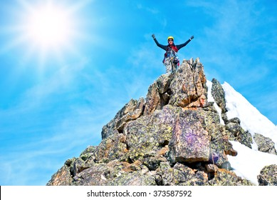 A climber on the summit
