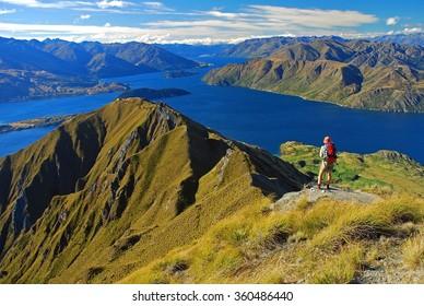 Climber on the Wanaka lake, Mount Aspiring National Park, Otago Region, South Island, New Zealand