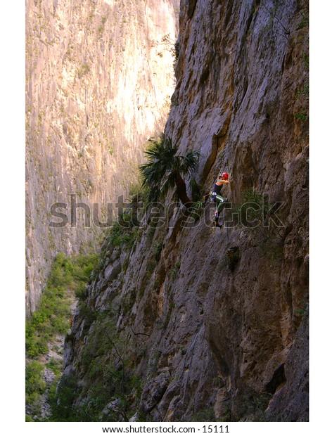 Climber in Portrero Chico, Mexico on big wall multi-pitch climb