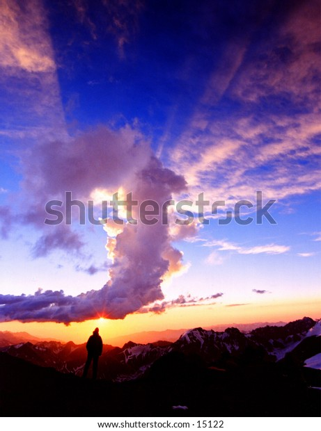 Climber at sunset at Camp 2 on Aconcagua - South America's highest Mountain