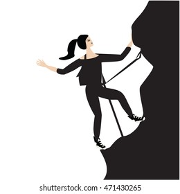 climber woman isolated white background   bitmap image